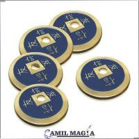 Set 4 + 1 Bronze Chinese Coins Half Dollar Size by Camil Magic