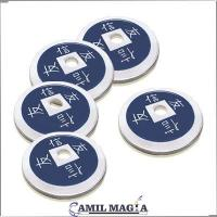 Set 4+1 Monedas Chinas Aluminio Tamaño Medio Dolar por Camil Magia
