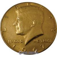 Moneda Jumbo Medio Dolar Simil Oro por Camil Magia